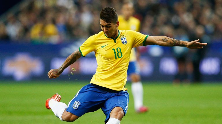 Roberto Firmino of Brazil in action during the International Friendly match between France and Brazil.