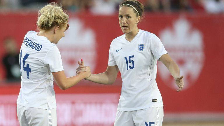 Alex Greenwood and Casey Stoney in action for England