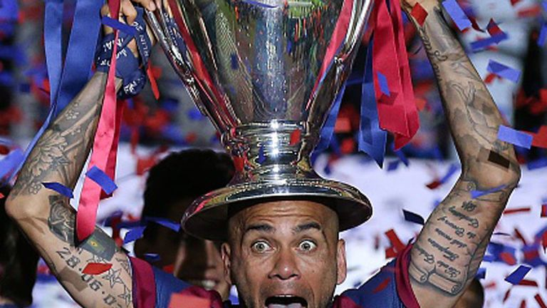 Dani Alves lifted his third Champions League with Barcelona on Saturday