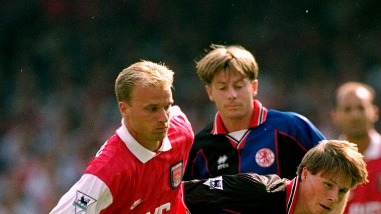20 Aug 1995:  Dennis Bergkamp of Arsenal gets past Nicky Barmby of Middlesbrough during his FA Carling Premiership debut at Highbury in London.