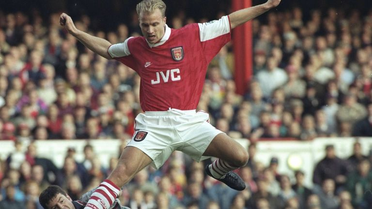 4 Nov 1995:  Dennis Bergkamp of Arsenal in action during an FA Carling Premiership match against Denis Irwin and Manchester United at Highbury.