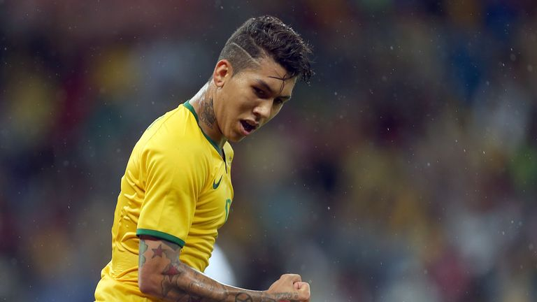 Brazil's Firmino celebrates his goal against Honduras