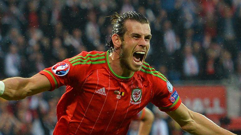 Gareth Bale celebrates after scoring against Belgium
