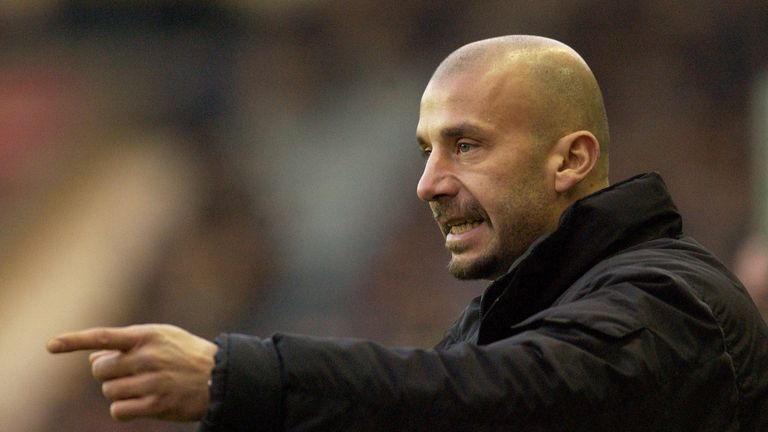 Gianluca Vialli, the manager of Watford  during the Nationwide Division One match between Coventry City and Watford at Highfield Road, Coventr