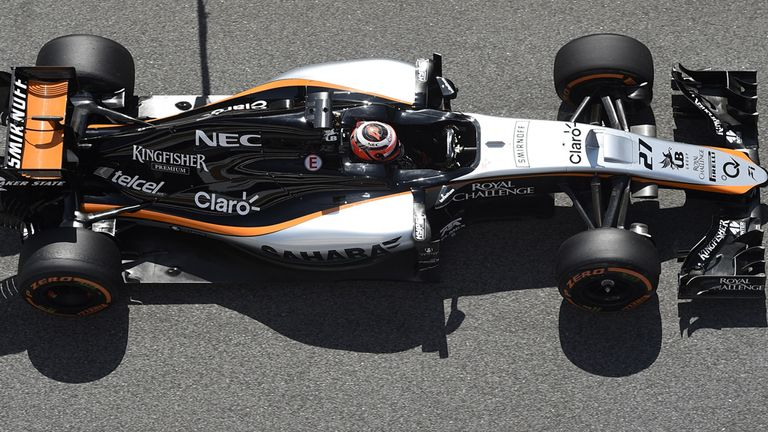 Hulkenberg pilots the Force India at the Spanish GP