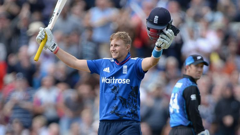 Joe Root of England celebrates reaching his century during the first ODI against New Zealand