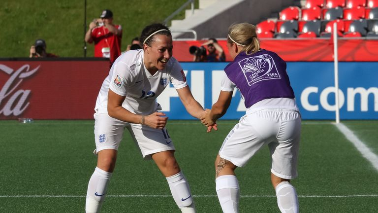 Jordan Nobbs (right) celebrates with Lucy Bronze during their win over Norway