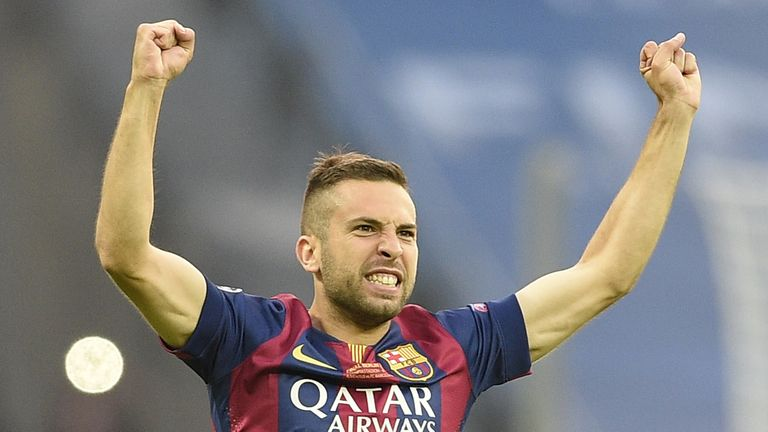Barcelona's defender Jordi Alba reacts during the UEFA Champions League Final football match between Juventus and FC Barcelona