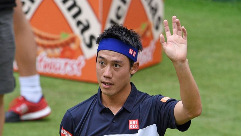 Kei Nishikori: Reached the semi-finals at Halle before retiring with injury