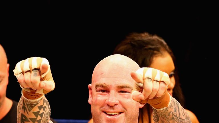 MELBOURNE, AUSTRALIA - APRIL 28:  Lucas Browne of Australia celebrates after he defeated James Toney of the USA in the WBC Super Heavyweight bout between L