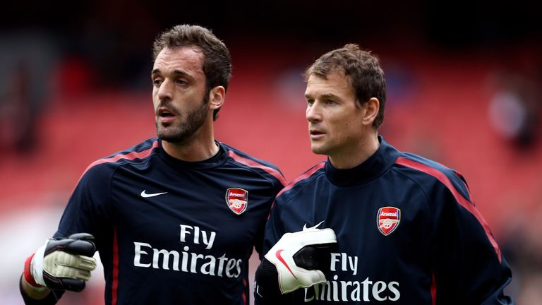 Former Arsenal goalkeepers Manuel Almunia and Jens Lehmann
