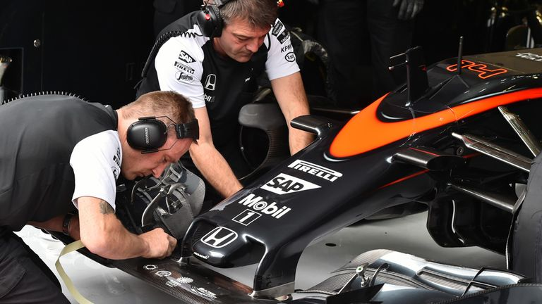 The new nose is fitted to Fernando Alonso's McLaren
