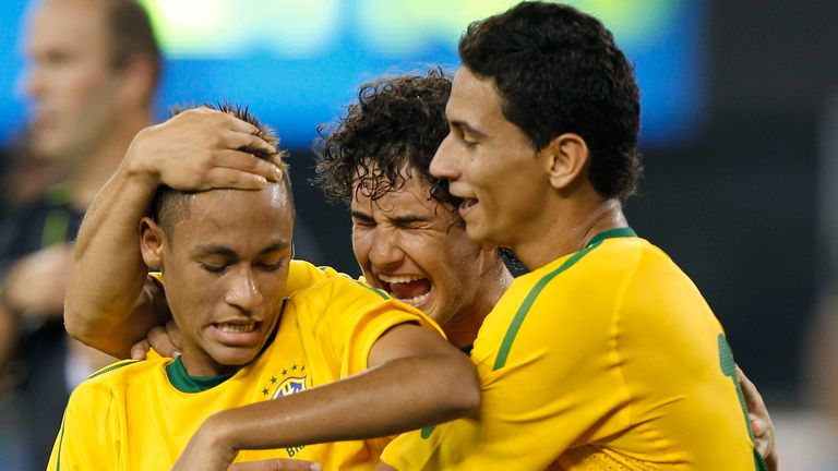 Neymar celebrating his first goal for Brazil on his debut against the USA in 2010