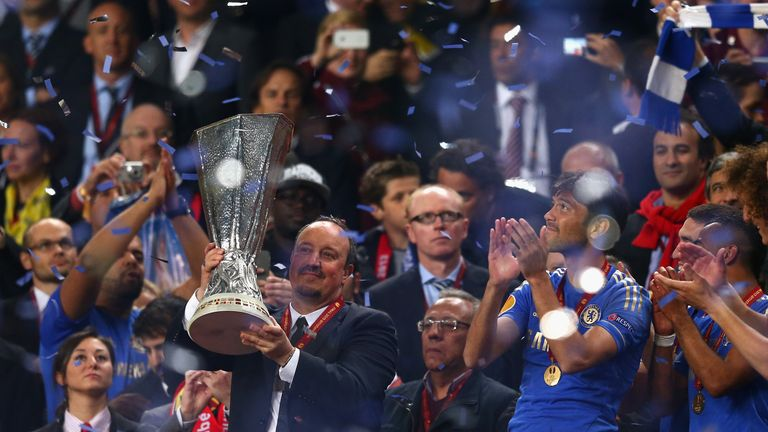 Chelsea Interim Manager Rafael Benitez poses with the trophy during the UEFA Europa League Final between SL Benfica
