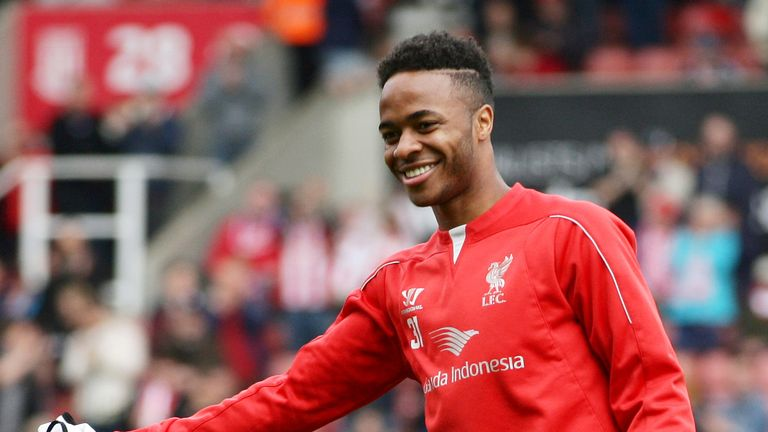 Raheem Sterling of Liverpool warms up