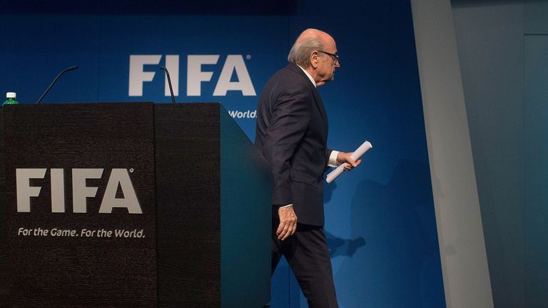 Sepp Blatter departs after announcing his resignation