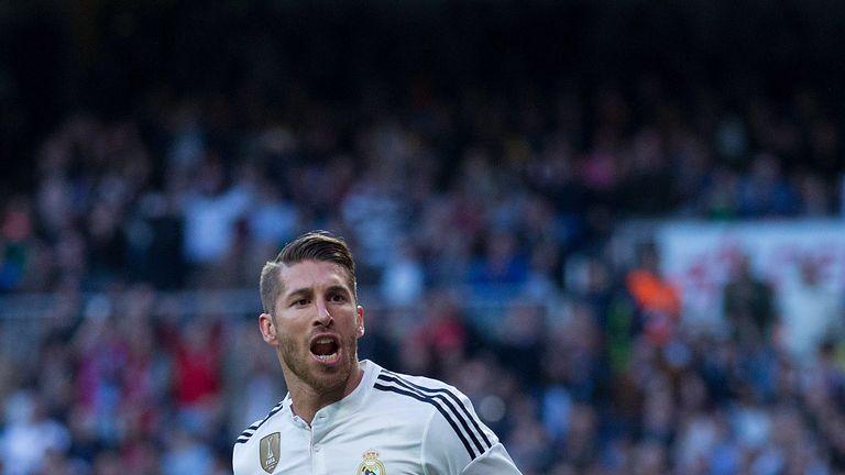 Sergio Ramos of Real Madrid CF celebrates