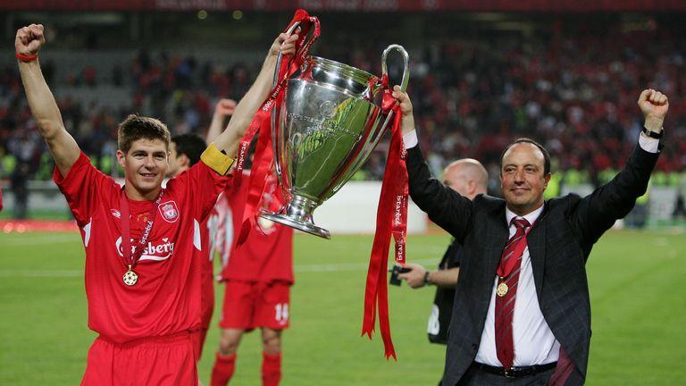 Liverpool captain Steven Gerrard and Liverpool manager Rafael Benitez of Spain lift the European Cup