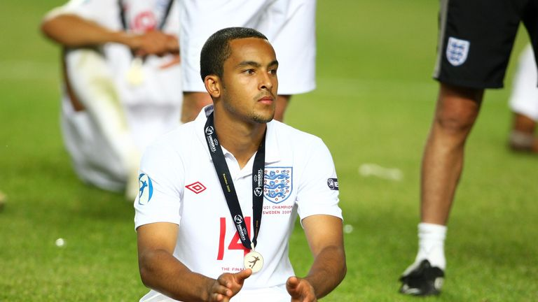 Theo Walcott of England reacts after their defeat to Germany during the UEFA Under-21 European Championships final in Sweden in June 2009
