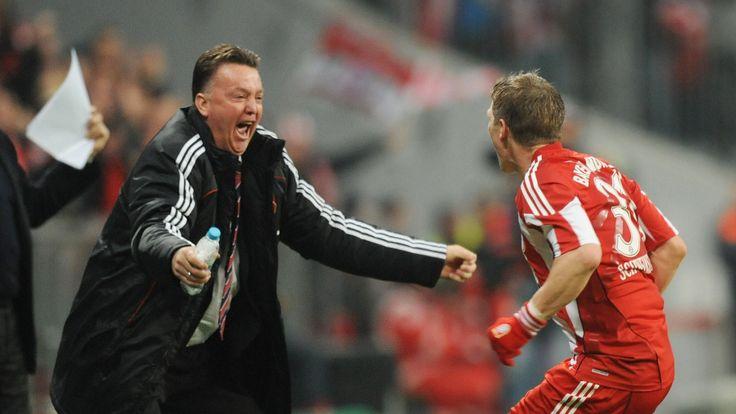Bayern Munich's midfielder Bastian Schweinsteiger celebrating with Louis van Gaal during the DFB German Cup football match Bayern Munich v Werder Bremen