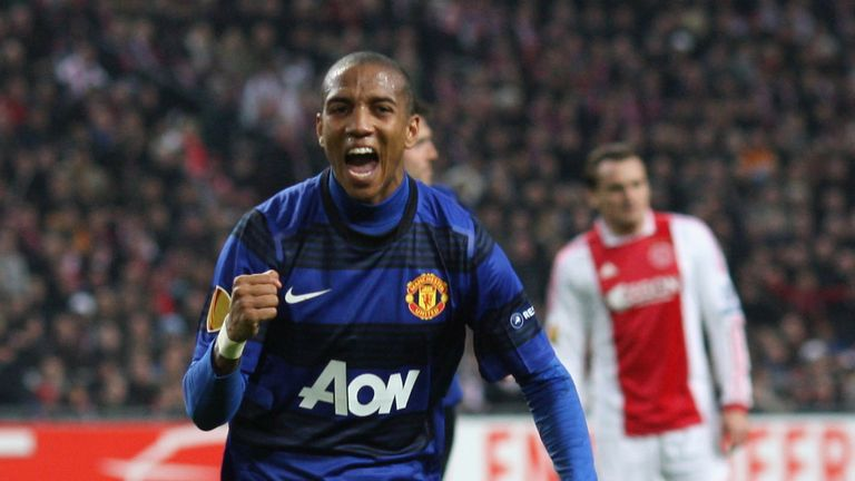6ea337732 Ashley Young enjoys a purple patch in his matching top against Ajax in  February 2012.