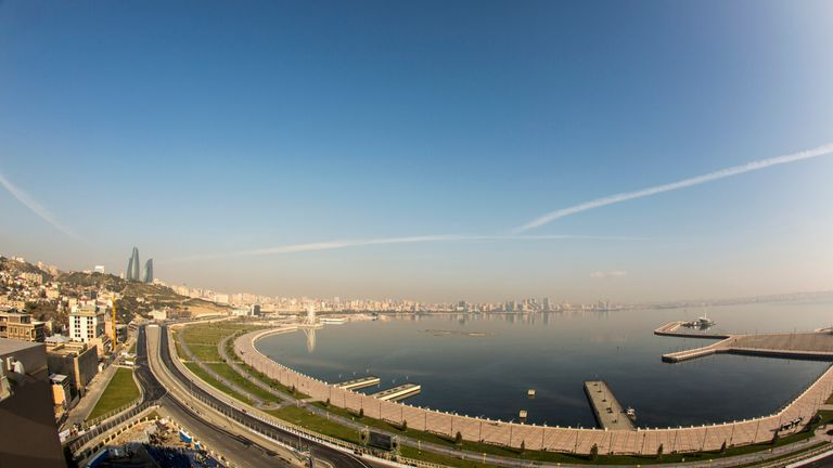 The view over the Caspian Sea in Baku, which will make its F1 debut next season