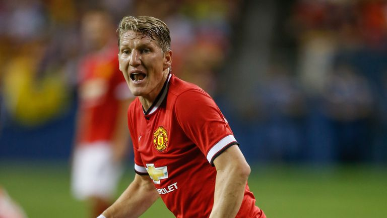 Bastian Schweinsteiger made his Manchester United debut as a second-half substitute