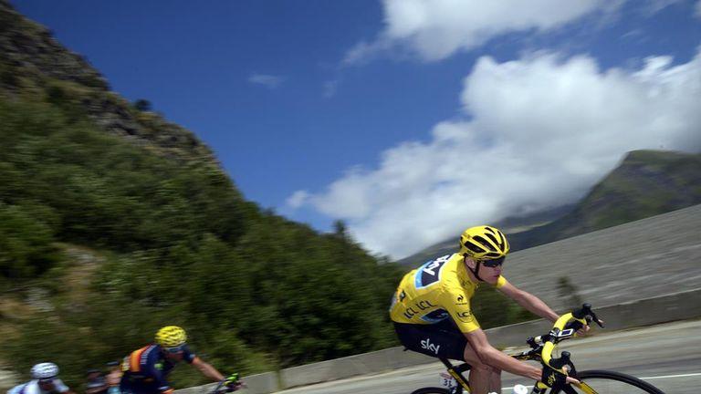 Froome (right) descends the Col de la Croix de Fer on stage 20 ahead of Alejandro Valverde (middle) and Nairo Quintana (left)