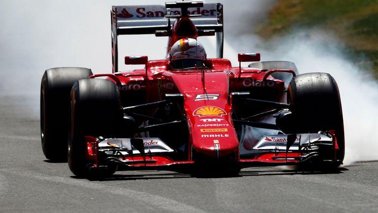 Sebastian Vettel locks up in his Ferrari