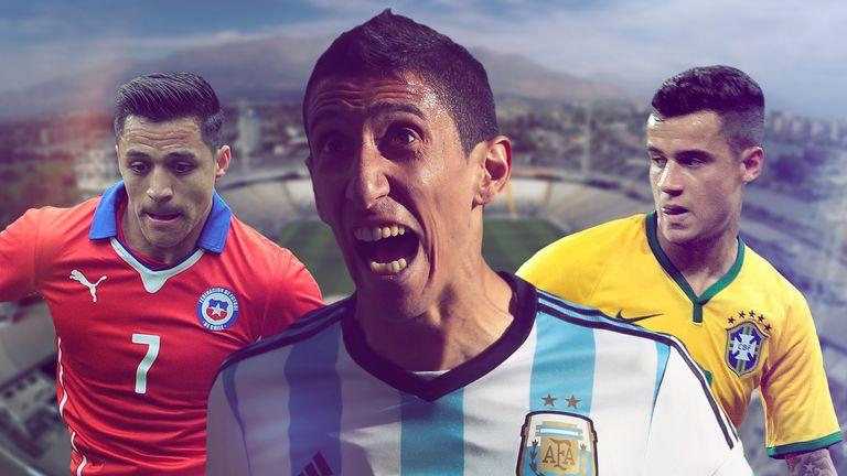 Alexis Sanchez, Angel di Maria and Phillipe Coutinho were in Copa America action