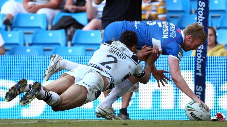 Hull KR's David Hodgson scores the match winning try in the 2012 Magic Weekend clash with rivals Hull FC
