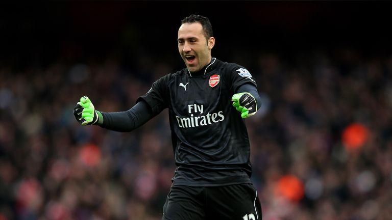 Goalkeeper David Ospina of Arsenal celebrates