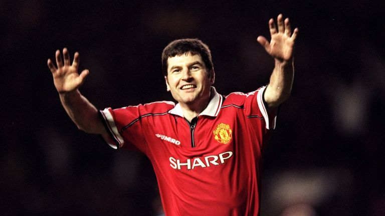 Denis Irwin played over 500 games for Manchester United and gets the nod as left-back in Ryan Giggs' line-up