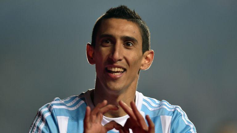 Argentina's forward Angel Di Maria celebrates