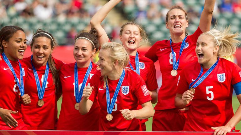 England celebrate their third-placed finish at the 2015 Women's World Cup in Canada