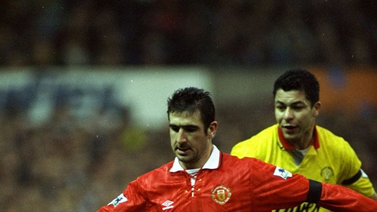 1993:  Eric Cantona of Manchester United shields the ball from Brian Gayle of Sheffield United during an FA Carling Premiership match at Old Trafford in Ma