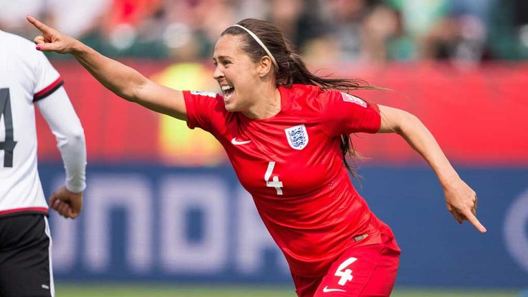 Fara Williams celebrates after scoring for England Women against Germany in extra time