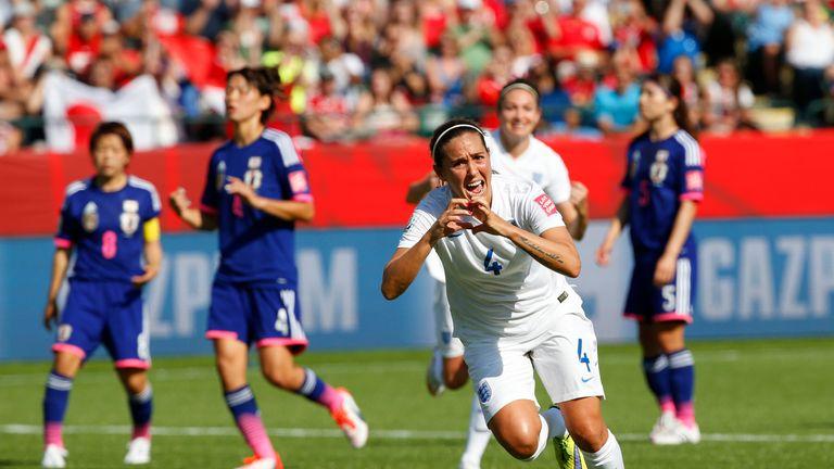 Fara Williams #4 of England celebrates her penalty kick goal during the FIFA Women's World Cup Canada Semi Final match v Japan, Edmonton