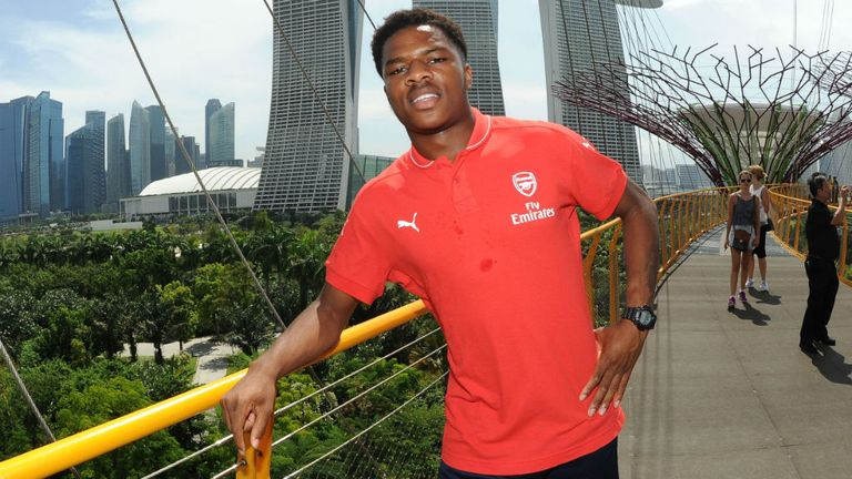Chuba Akpom of Arsenal visits Gardens By The Bay in Singapore