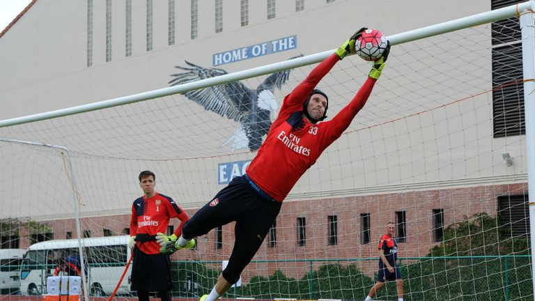 Petr Cech of Arsenal during the Arsenal Training Session at Singapore American School