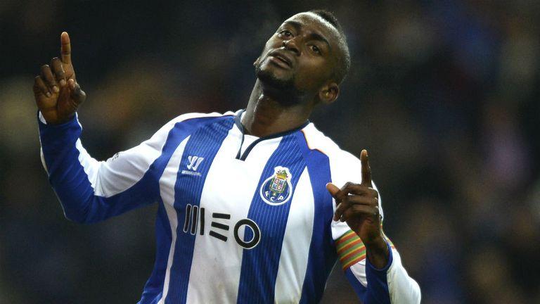 Porto's Colombian forward Jackson Martinez celebrates after scoring a goal v FC Pacos de Ferreira