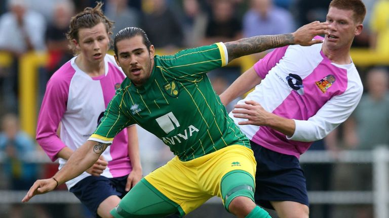 Bradley Johnson of Norwich City moves away with the ball during the pre season friendly match against Hitchin Town