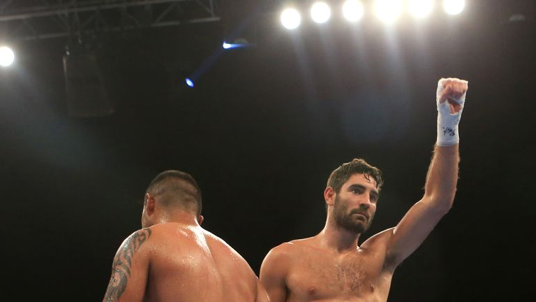 Frank Buglioni celebrates his fifth-round stoppage victory over Fernando Castaneda