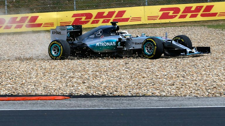 Lewis Hamilton leaves the track on the first lap of the Hungarian GP