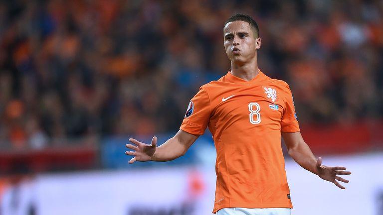 Holland's forward Ibrahim Afellay reacts