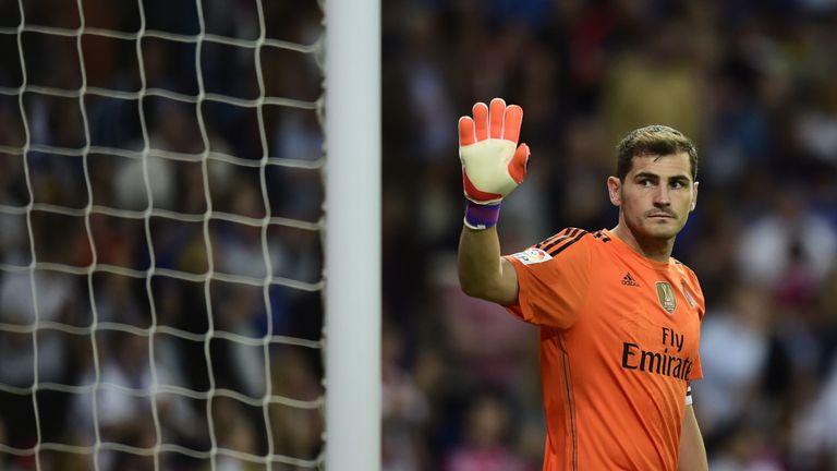 Real Madrid's goalkeeper Iker Casillas gestures