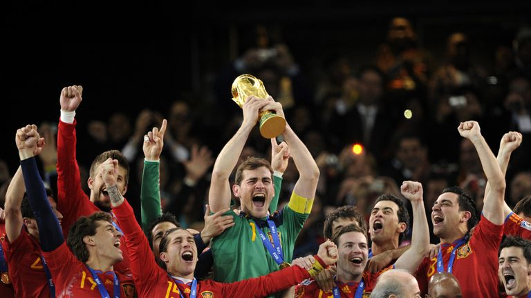 Iker Casillas lifts the World Cup trophy