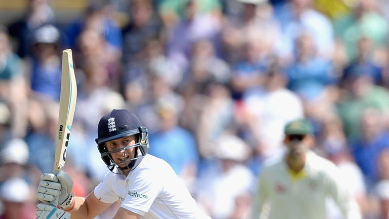 Joe Root in full flow on his way to a crucial century in the first Test