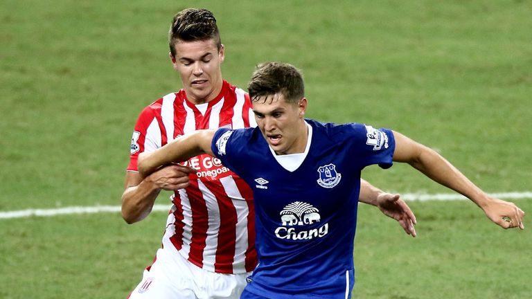 John Stones in action for Everton at the Asia Trophy