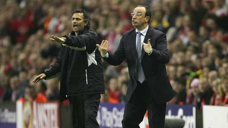Mourinho (left) and Benitez were frequent verbal sparring partners in the Premier League